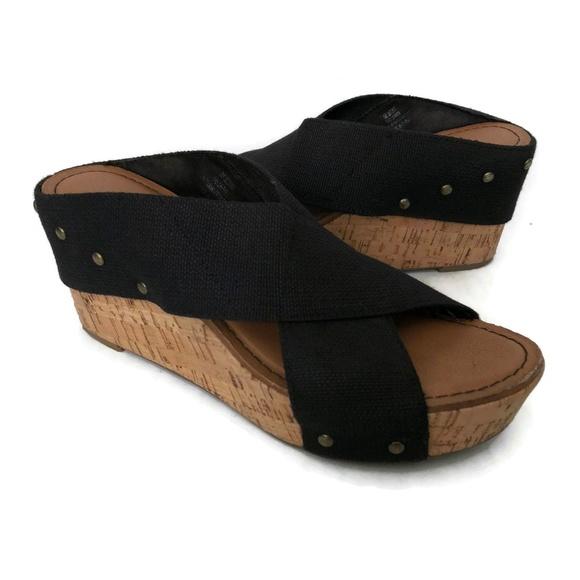 73d88ab9d50 Crown Vintage Shoes - Crown Vintage Sandals Black Canvas Cork Slip On